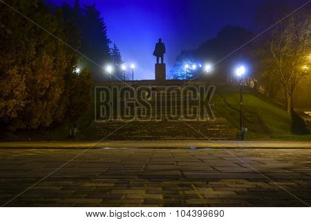 Nighttime image of Lenin monument in Pyatigorsk, Russia