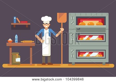 Cook baker cooking bread icon on bakery background  flat design vector illustration