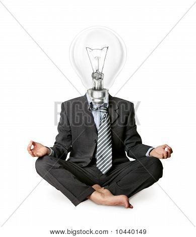 Businessman In Lotus Pose And Lamp-head