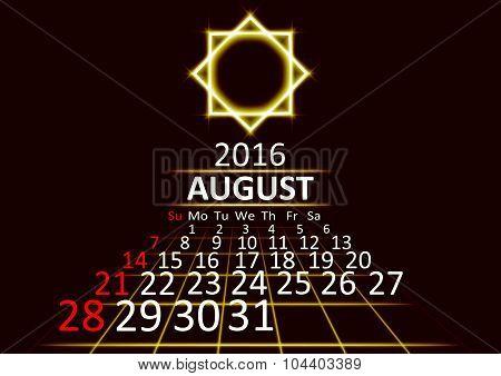 August 2016 calendar dark technology 3d style abstrat background. Vector Illustration.
