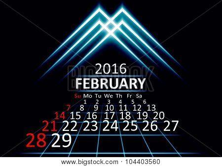 February 2016 calendar dark technology 3d style abstrat background. Vector Illustration.