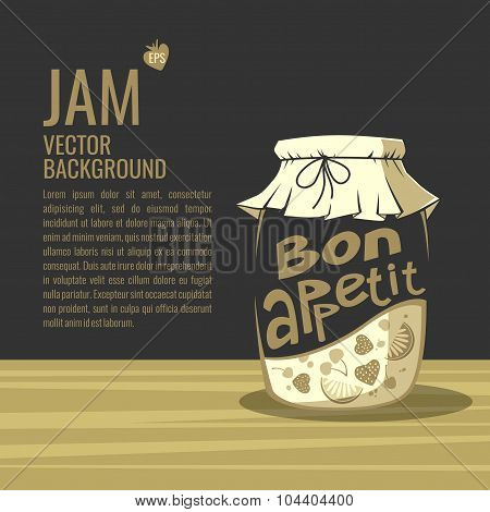 Bon Appetit. Jar Of Jam. Background For Your Text