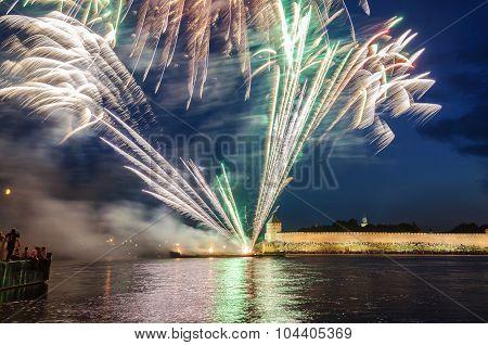 VELIKY NOVGOROD, RUSSIA - JUNE 12, 2011.Fireworks in the Novgorod Kremlin on the celebration of the first Russian Hanseatic days in Veliky Novgorod, Russia
