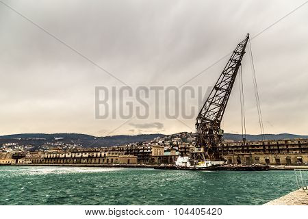Big Crane In The Port Of Trieste