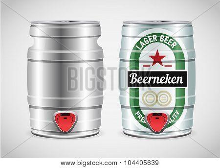 Realistic Metal Beer Keg, Vector Illustration.