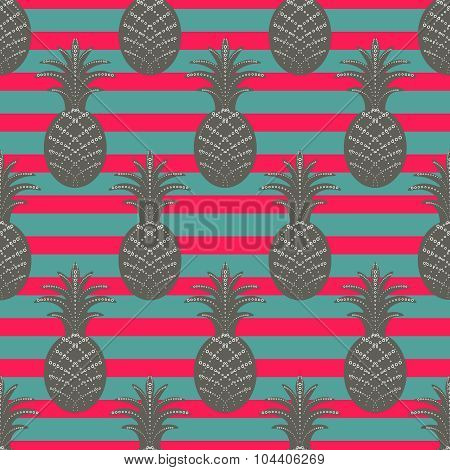 Pineapple seamless pattern on stripe background