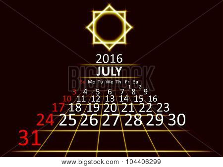July 2016 calendar dark technology 3d style abstrat background. Vector Illustration.