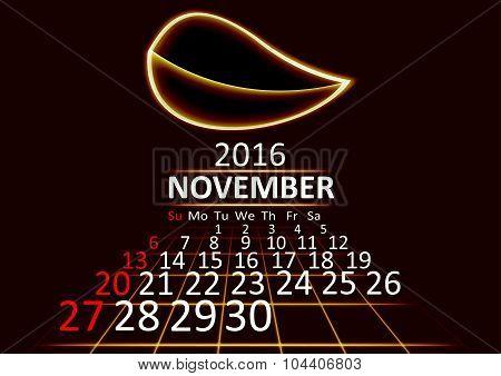 November 2016 calendar dark technology 3d style abstrat background. Vector Illustration.