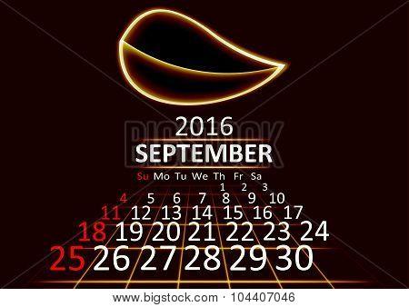 September 2016 calendar dark technology 3d style abstrat background. Vector Illustration.