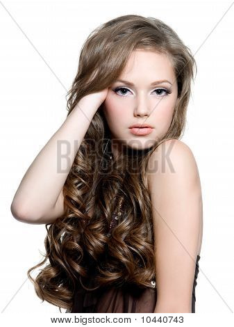 Beautiful Teen Girl With  Long Curly Hairs