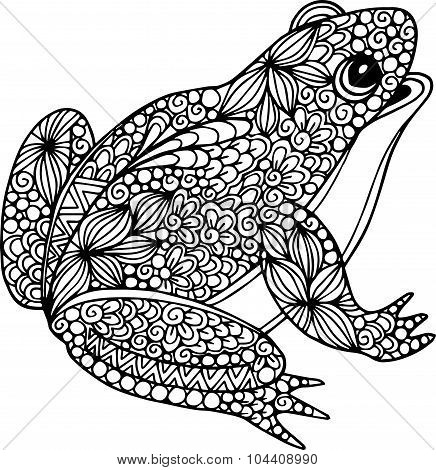 Hand drawn ornamental doodle frog illustration with zentangle ornaments