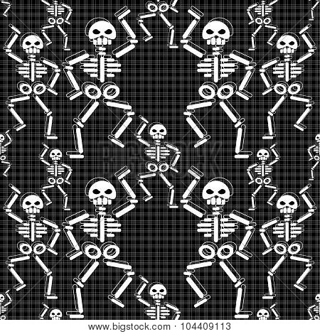 repeating pattern with dancing skeletons on black background