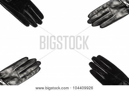 eather gloves isolated on white in studio