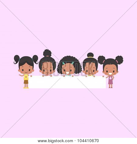 African-American Girls with Blank Banner