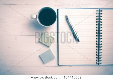 Notepad And Coffee Cup Vintage Style