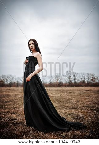 Beautiful Sad Goth Girl Stands In The Autumnal Field
