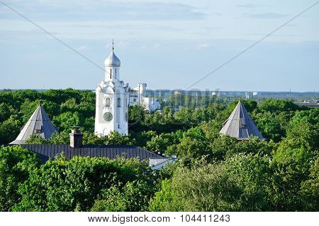 The Clock Tower Of St.sophia Cathedral  From Bird's Eye View, Veliky Novgorod