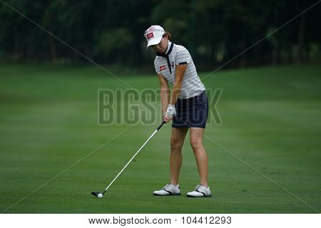 KUALA LUMPUR, MALAYSIA - OCTOBER 09, 2015: South Korea's Sun Young Yoo plays her shot on the sixth hole fairway of the KL Golf & Country Club at the 2015 Sime Darby LPGA Malaysia golf tournament.