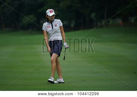 KUALA LUMPUR, MALAYSIA - OCTOBER 09, 2015: South Korea's Sun Young Yoo watches her shot on the sixth hole fairway of the KL Golf & Country Club at the 2015 Sime Darby LPGA Malaysia golf tournament.