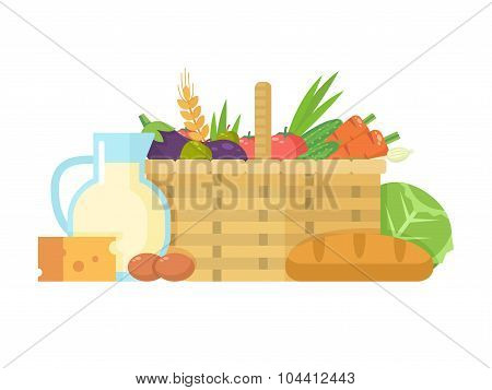 Basket with fresh natural vegetables and healthy produce.