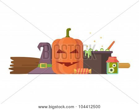 Halloween illustration with pumpkin and other elements.