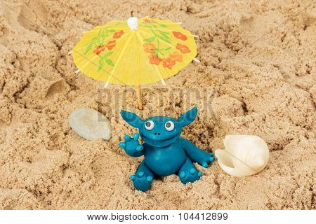 Plasticine Monster On The Sand