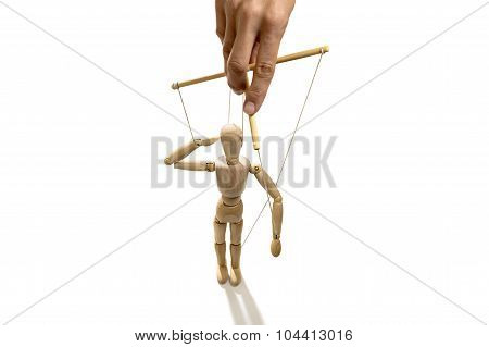 Hand manipulating a puppet, isolated