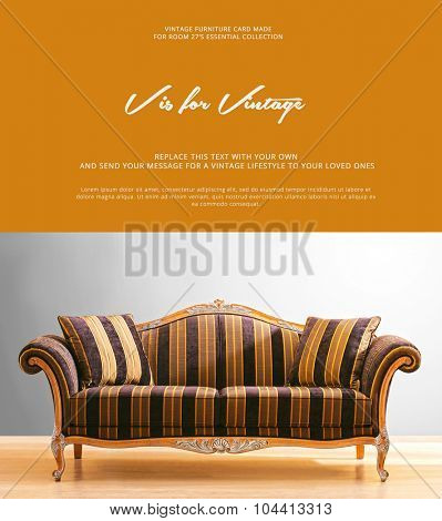conceptual card design , with a vintage couch photo