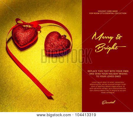 christmas synthesis of two decorative red hearts on a shiny gold background