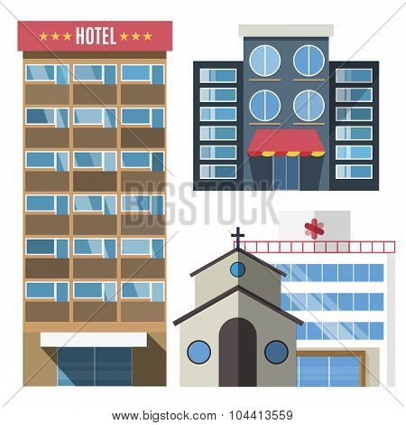 Vector buildings set skyscrapers, small house isolated on white background