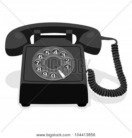 Black Stationary Phone With Rotary Dial