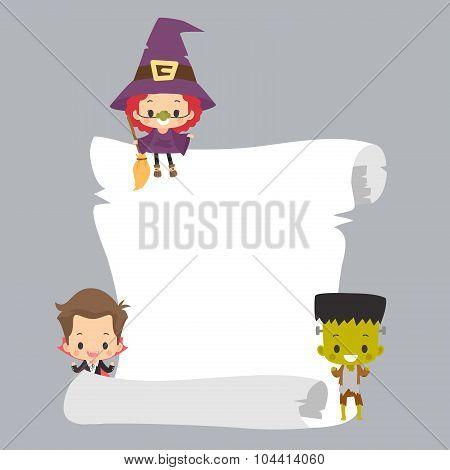 Kids Halloween Costume with Blank Scroll