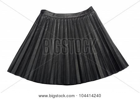 Pleated Leather midi skirt isolated on white background