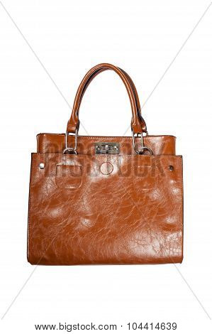 Woman's brown bag over white, side view