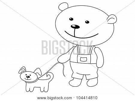 Teddy-bear with a dog, contours
