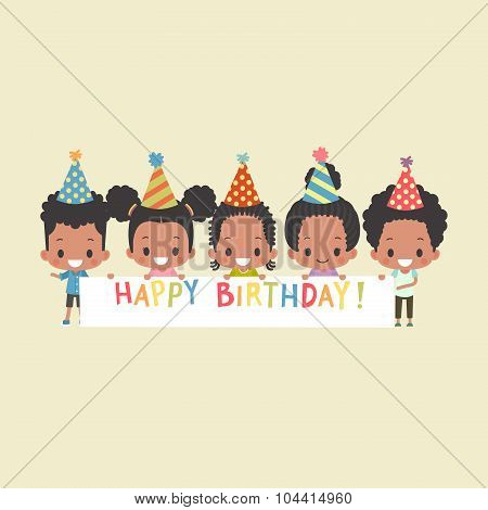 African-American Kids Happy Birthday Banner