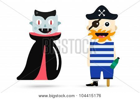 Monster halloween vampire, pirate cartoon characters isolated vector silhouette