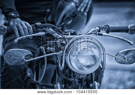 Biker Man Sitting On His Motorcycle, Vintage Effect