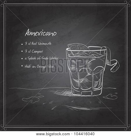 coctail americano on black board