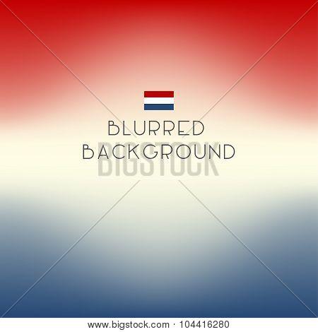 Blurred Color Netherlands Flag Background. Vector Illustration.