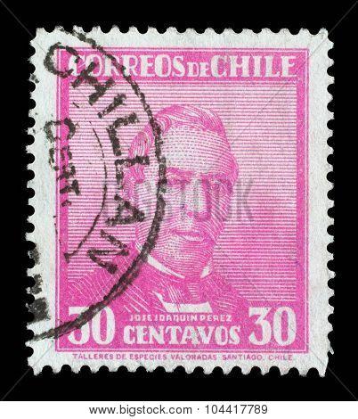 CHILE - CIRCA 1934: a stamp printed in the Chile shows Jose Joaquin Perez Mascayano, President of Chile, 1861 - 1871, circa 1934