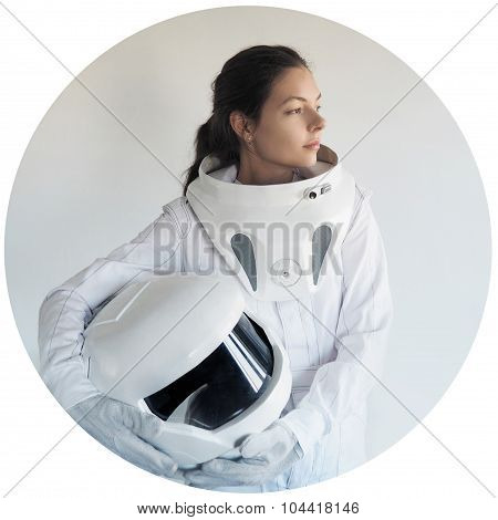 futuristic astronaut without  helmet,  white background in a circular frame