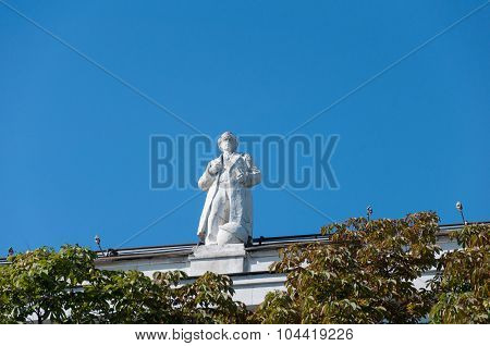 Moscow, Russia - 09.21.2015. Moscow. The sculptures on the roof State Library name of Lenin