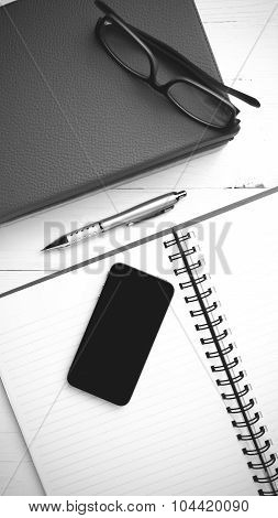 Notepad With Stack Of Book Black And White Tone Color Style