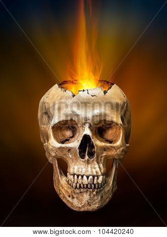 Beam Of Fire Blaze From Broken Human Skull