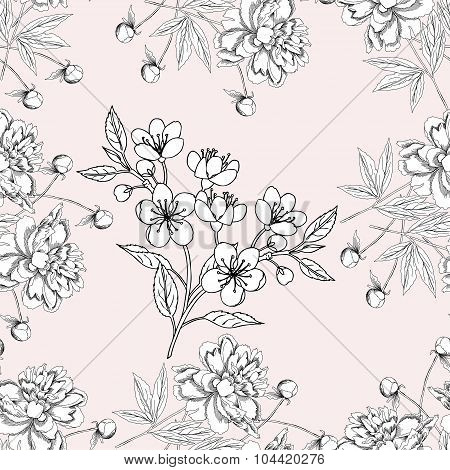 Seamless pattern with peony11-07