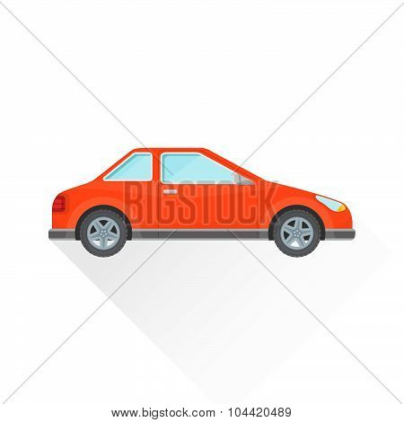 Vector Flat Red Coupe Car Body Style Illustration Icon.