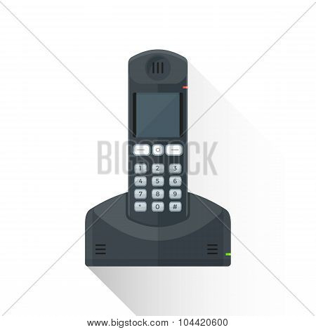 Vector Flat Style Black Landline Wireless Phone Illustration Icon.