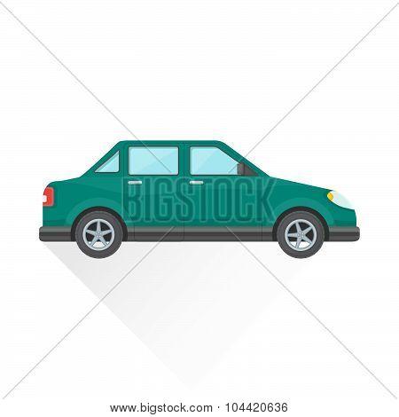Vector Flat Teal Saloon Car Body Style Illustration Icon.