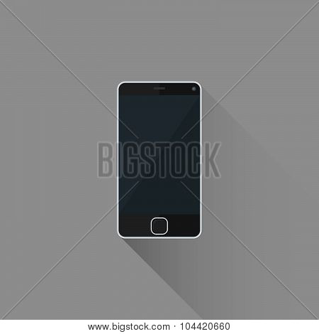 Vector Flat Style Black Modern Touchscreen Smart Phone Illustration Icon.